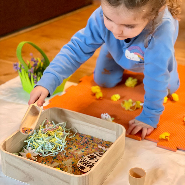 easter theme sensory play